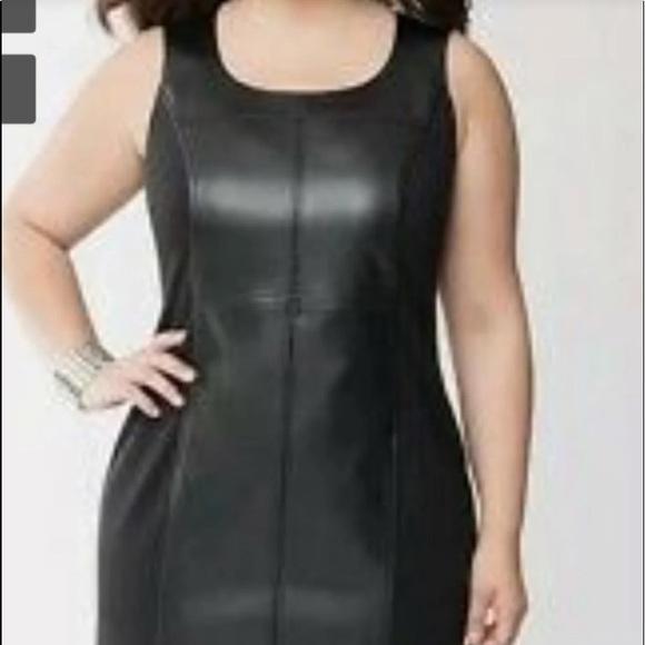 🎈 Lane Bryant faux leather dress 👗 black NWT